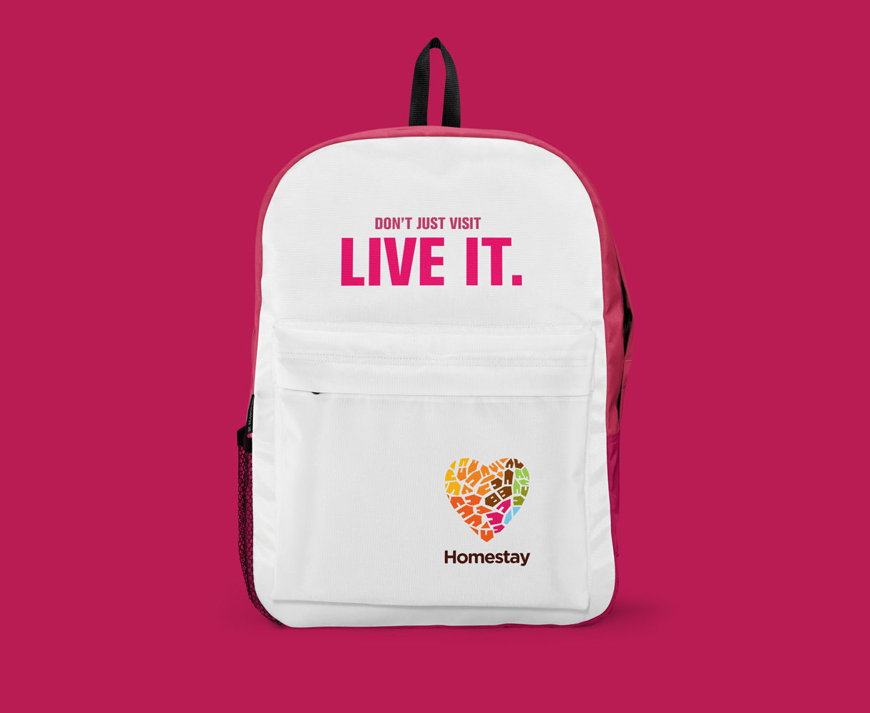 Homestay brand development promotional materials backpack