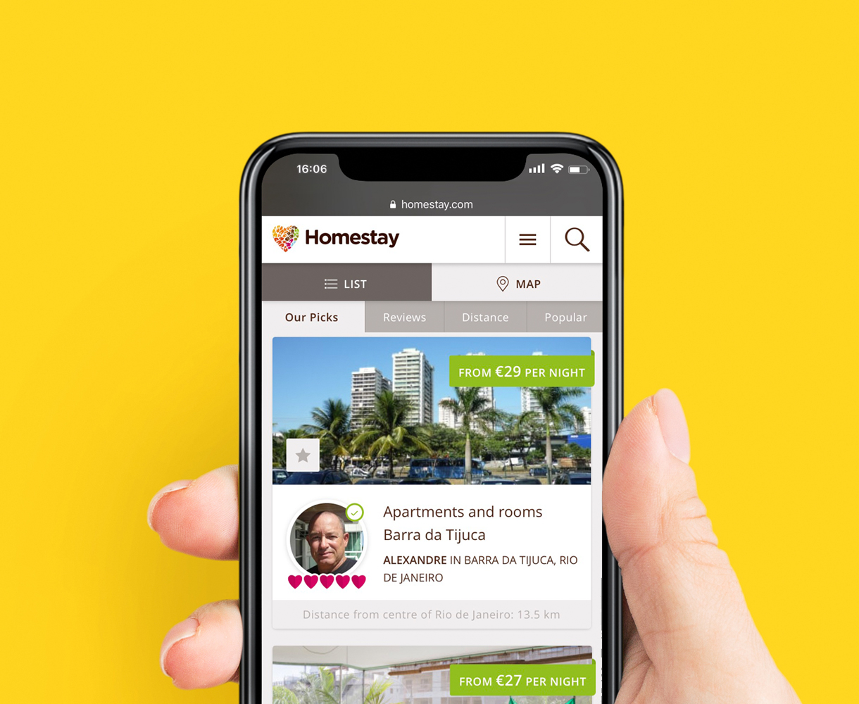 Homestay mobile web design