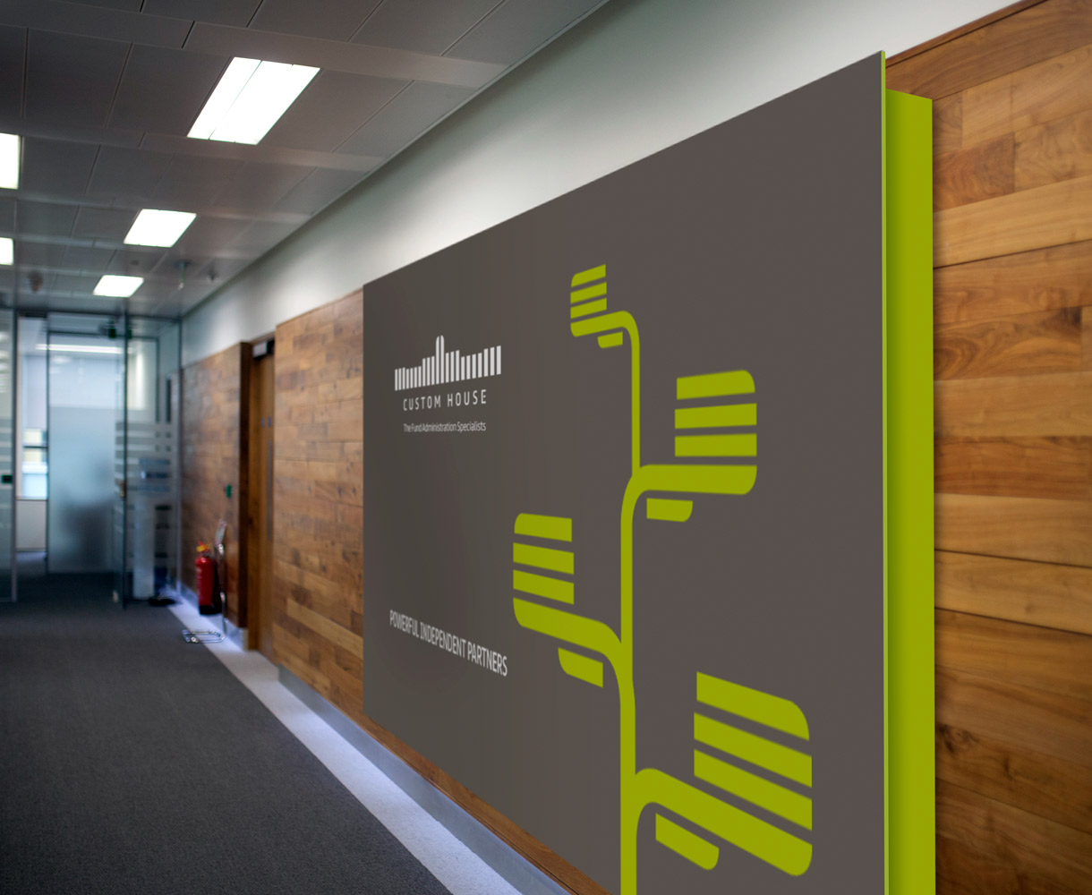 Principle design agency Dublin Custom house group brand project signage on internal wall I