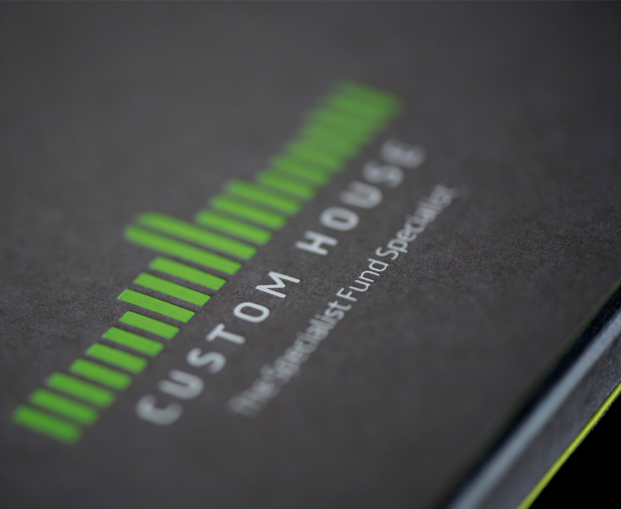Principle design agency Dublin Custom house Dublin brand project logo brand mark shown on corporate folder design detail