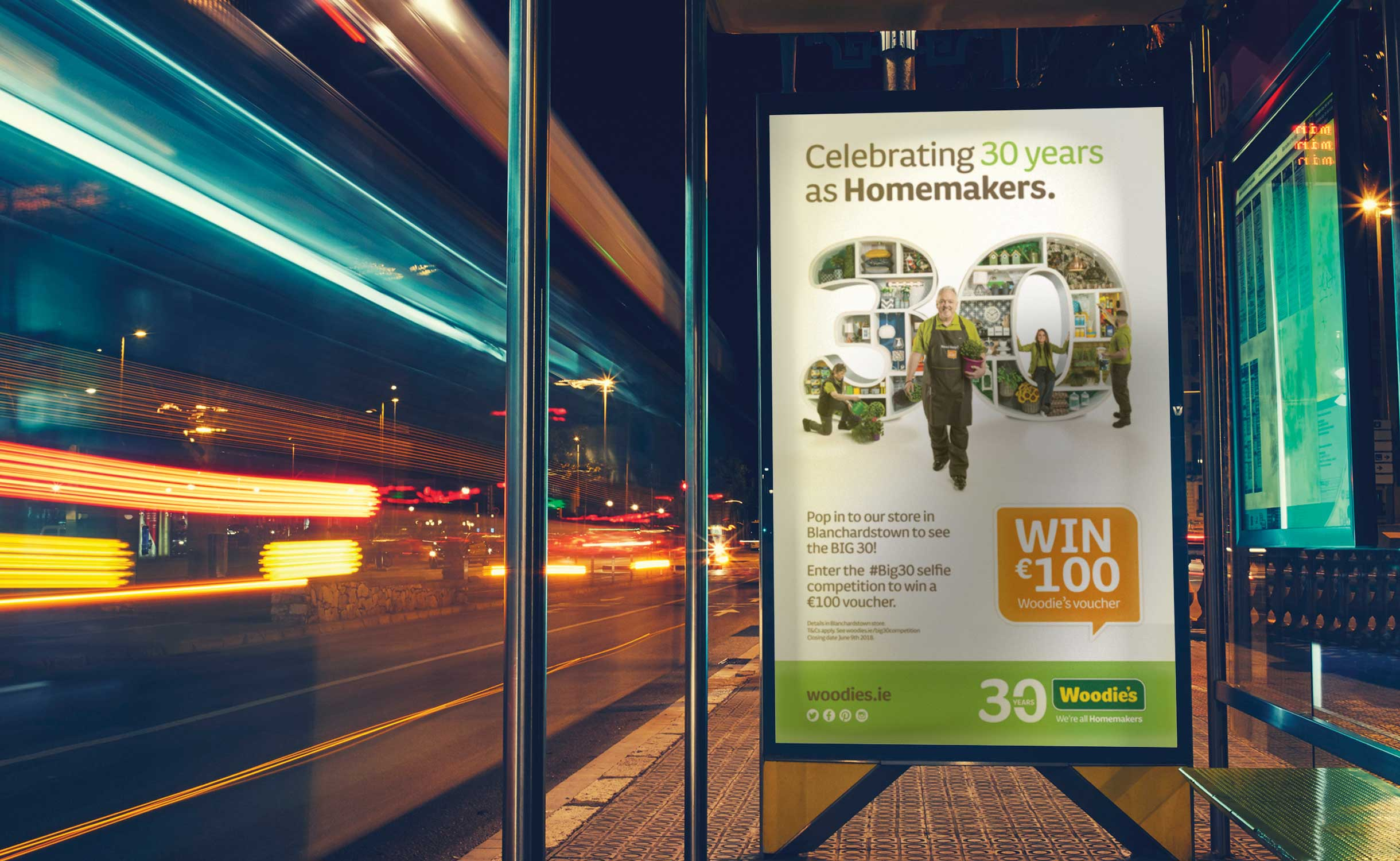 Principle brand agency Dublin Woodie's 30th Year Brand Project bus shelter advert