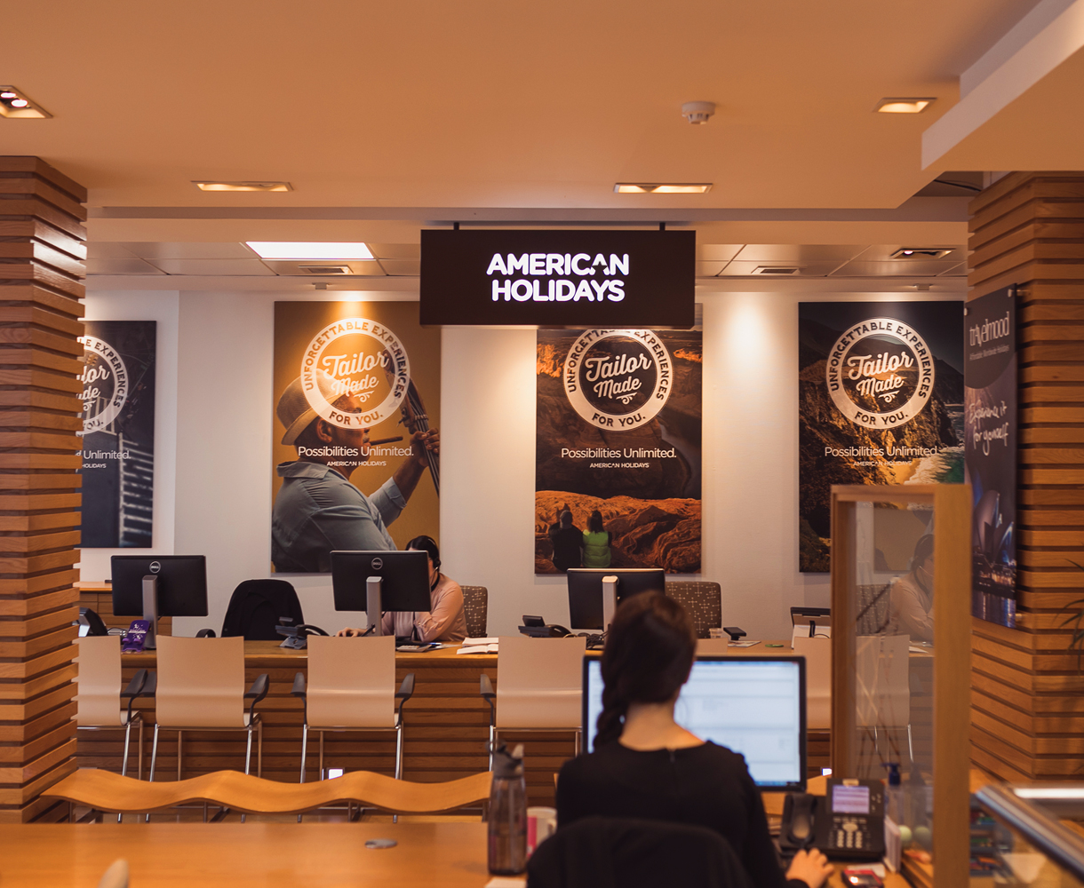 American Holidays store fit out refit wall graphics brand identity