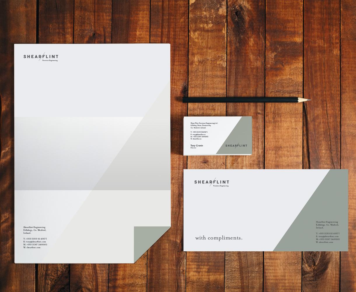 Principle brand agency Dublin Shearflint brand project stationery design
