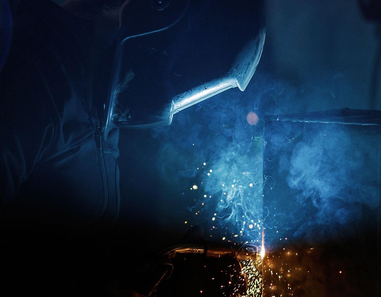 Principle Design Agency Dublin ShearFlint Engineering Brand Development ironworks Welder at work