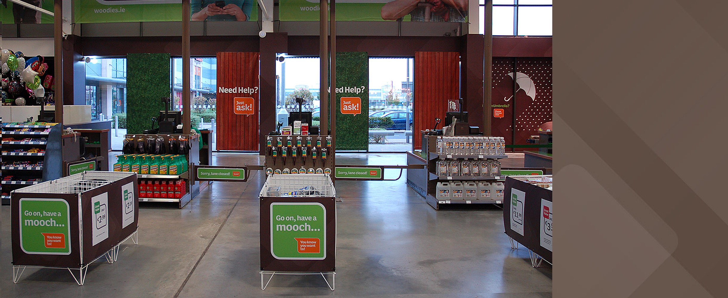 Principle brand agency Dublin Woodie's Brand Project Instore picture point of sale tills