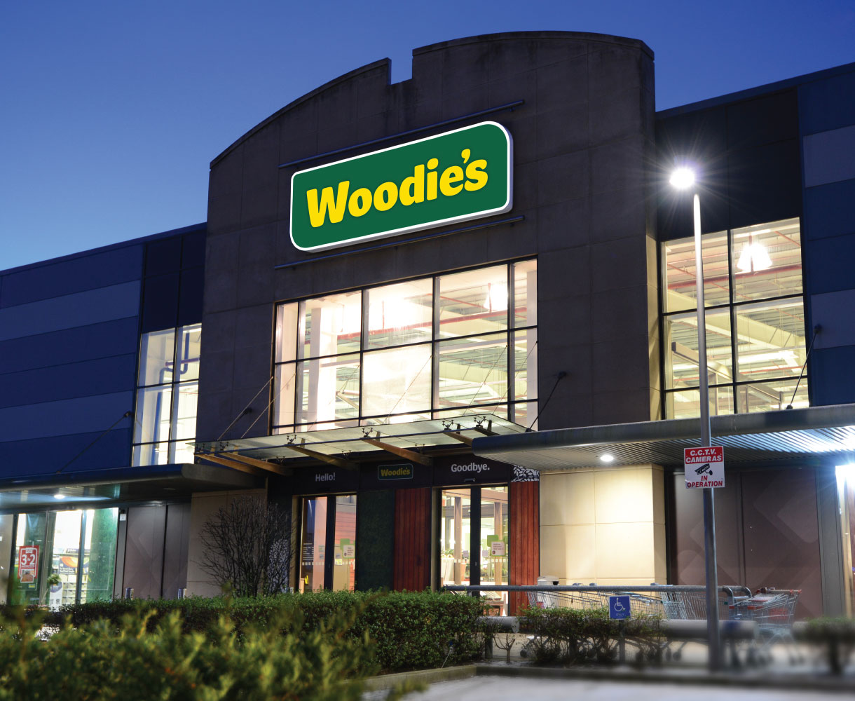 Principle brand agency Dublin Woodie's Brand Project carrickmines store at night