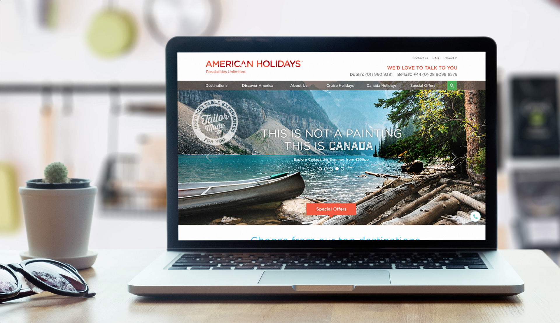 Principle brand agency Dublin American Holidays Branding Project website design