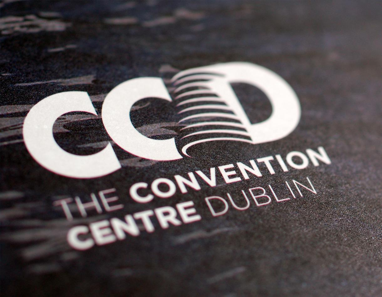 Principle brand agency Dublin The Convention Centre Branding project white brandmark logo detail
