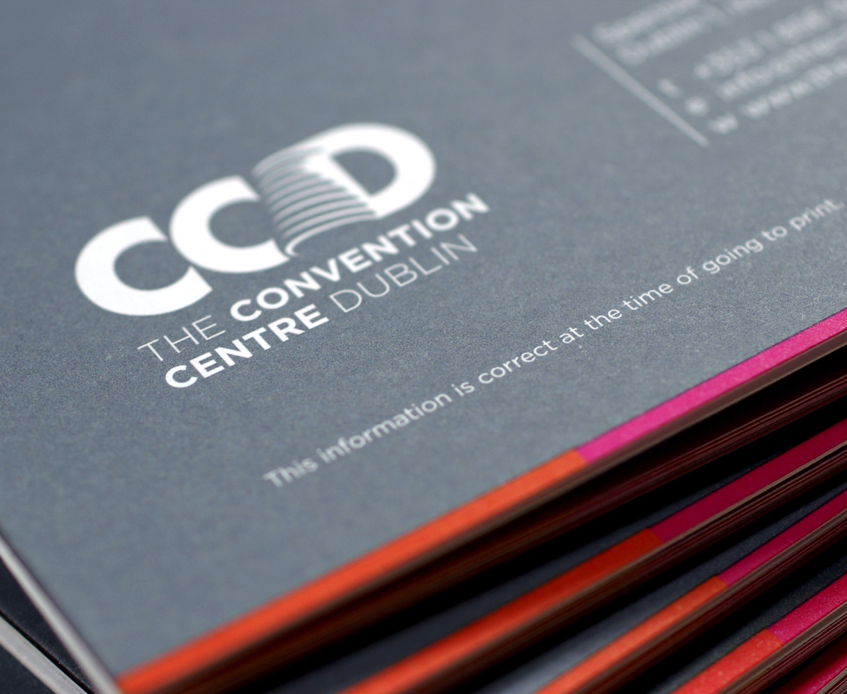 Principle brand agency Dublin The Convention Centre Branding project white logo brandmark brochure detail