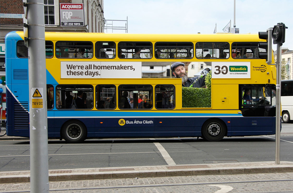 Principle brand agency Dublin Woodie's 30th Year Brand Project Bus side advert design