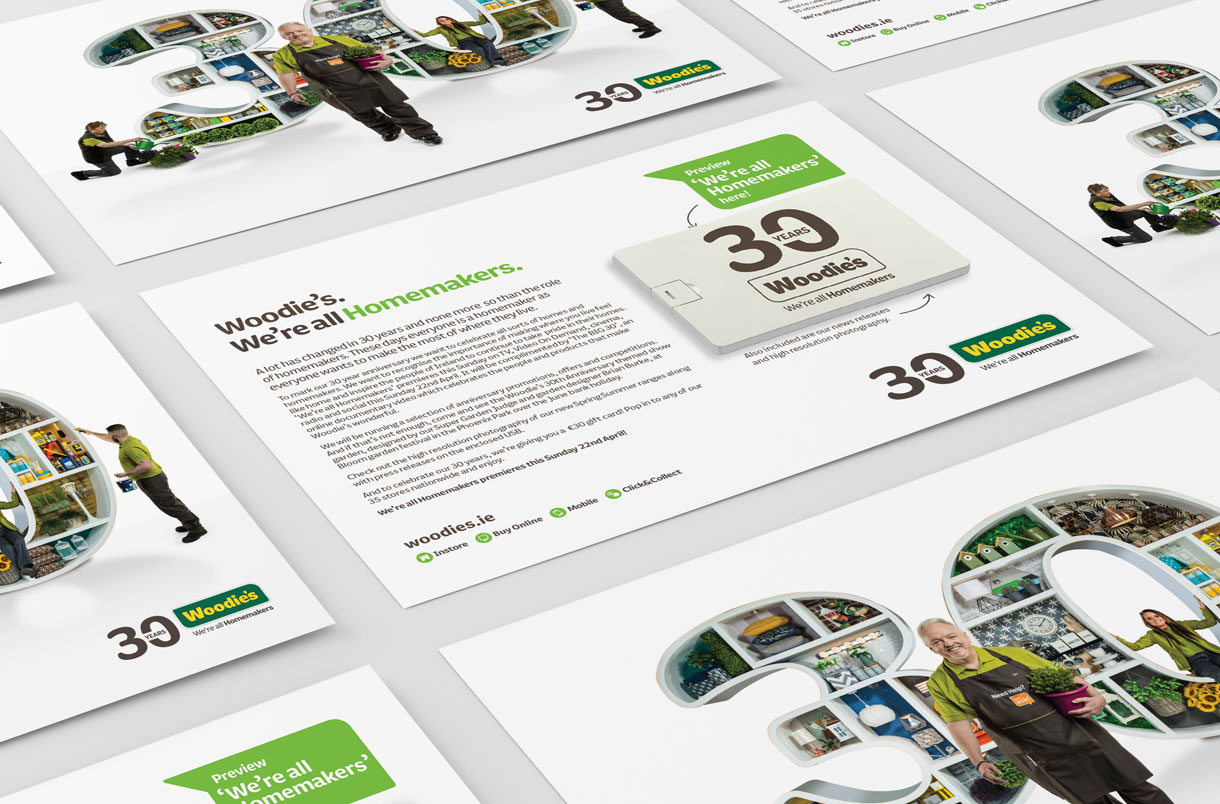 Principle brand agency Dublin Woodie's 30th Year Brand Project Press Pack design