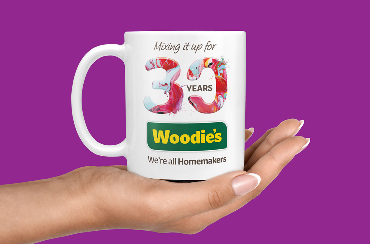 Principle brand agency Dublin Woodie's 30th Year Brand Project Mug design