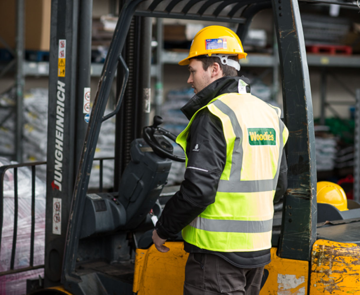 Principle brand agency Dublin Woodie's Brand Project loading bay forklift driver