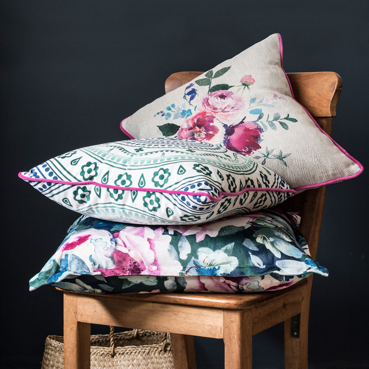 Principle brand agency Dublin Woodie's homewares brand design project cottage cushions on chair
