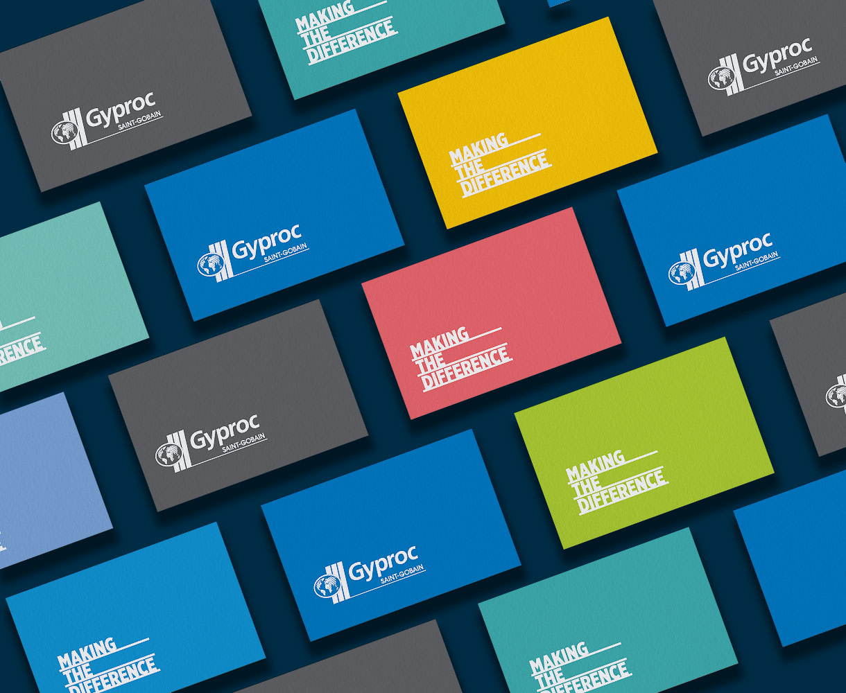 Campaign Design Gyproc Making the Difference business cards stationery