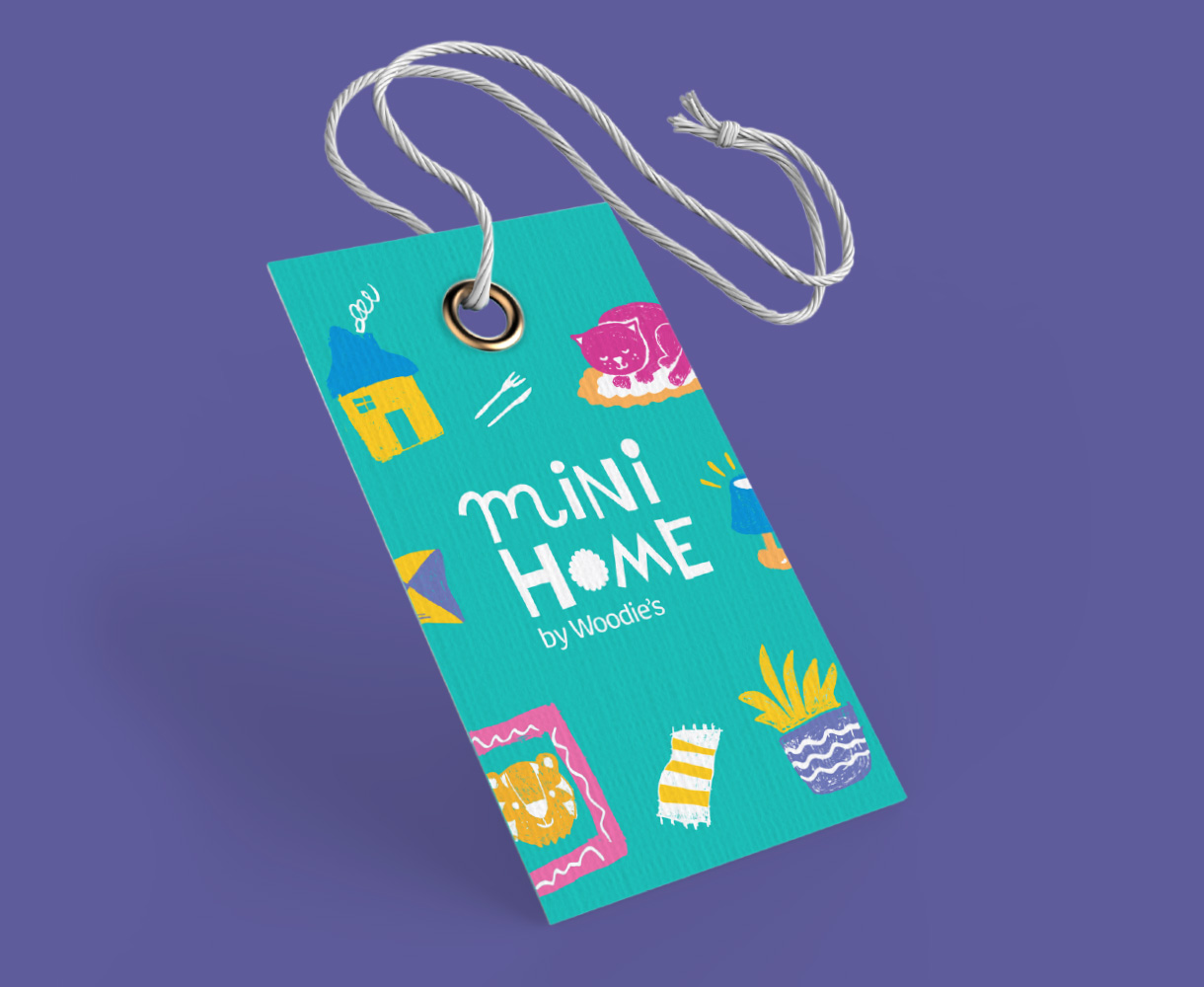 Principle Brand Design Dublin, Mini Home by Woodie's, Packaging Swing Tag, Children's Homeware Range Branding