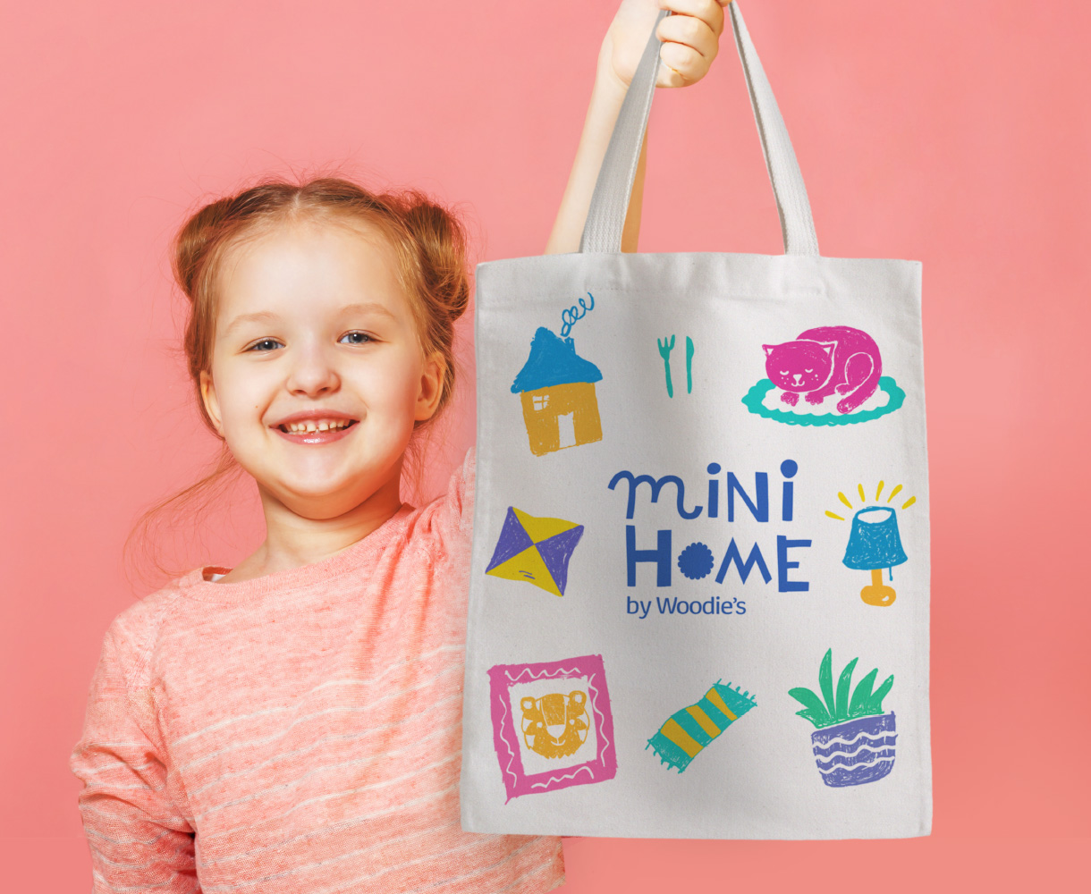 Principle Brand Design Dublin, Mini Home by Woodie's, Children's Homeware Range Branding, Tote Bag with Custom Illustration