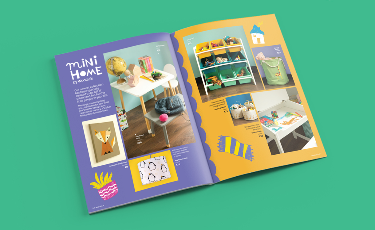 Principle Design Dublin, Mini Home by Woodie's, Brochure Spread Layout, Children's Homeware Range Branding, Kids Interiors
