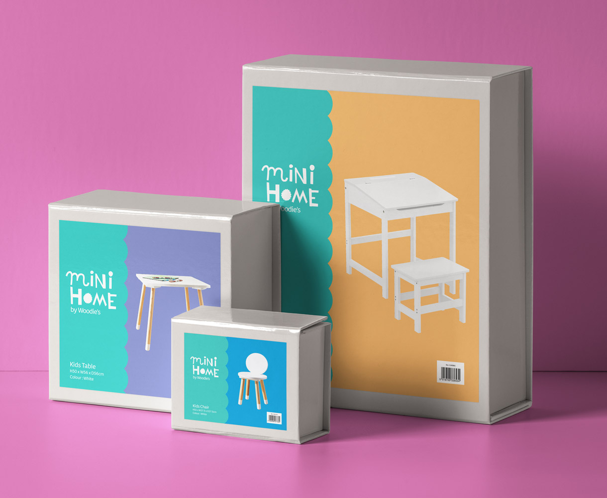 Principle Brand Design Dublin, Mini Home by Woodie's, Furniture Packaging, Children's Homeware Range Branding